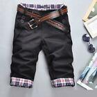 Mens Slim Flat Plaid Casual Shorts Pants Underwear Shorts Cropped Trousers L-XXL