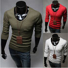 Fashion Men Casual Round Neck Solid Wild Slim Fit Long Sleeve Blouse T-shirt Top