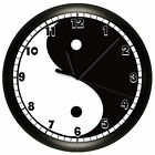 YING YANG WALL CLOCK DECORATIVE BLACK AND WHITE GIFT DECOR CHINESE NOVELTY