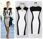 Sexy Womens V neck Contrast Bodycon Cocktail Party Evening Pencil Dress S-XL -LJ