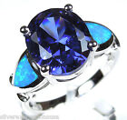 Oval Tanzanite & Blue Fire Opal Inlay Solid 925 Sterling Silver Ring Sz 6,7,8,9