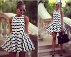 2014 Sexy Women Sleeveless Pleated Striped Dress Clubbing Cocktail Party Dress