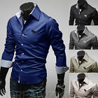 New Mens Luxury Long Sleeve Casual Slim Fit Moose Embroidery Dress Shirts tops
