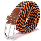 New Fashion Stretch Woven Elastic Cotton Leather Men's Golf Casual Belt UK LO