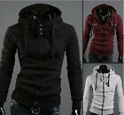 Hot Men's Hooded Coat Cardigan Slim Sweater Sports Leisure Jacket UK LO