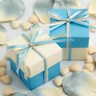 BLUE AND IVORY SQUARE BOX AND LID WEDDING FAVOUR BOXES - CHOOSE QUANTITY