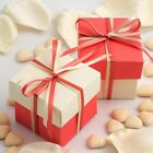 CORAL AND IVORY SQUARE BOX AND LID WEDDING FAVOUR BOXES - CHOOSE QUANTITY