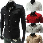 Fashion Men's Slim Fit Pocket Dress Shirts Long Sleeve Casual Shirts Tops Blouse