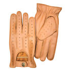 Prime Leather Mens Soft Driving Gloves Retro Style Comfort Chauffeur 7011 TAN
