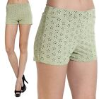 Themogan Perforated Cutout Suede Shorts Elastic Waist Stretch Short Pants GREEN