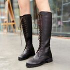 Womens Riding Boots Knee High Motorcycle Lace Up Flat Tall Cow Leather Shoes