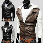 Men's Korean Style Fashion Casual Knit Hooded Motorcycle Leather Jacket 3 Colors