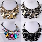 Women Boho Acrylic Statement Ribbon Necklaces Bead Party Cocktail Necklace Gift
