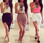 Lady Sexy Cut out Skirt Asymmetrical High Low Wrapped Elastic Waist Draped ,1pc