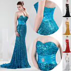 Stunning Women Sequins Long Maxi Evening Ball Gown Strapless Formal Prom Dresses