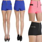 Themogan Zip Front HIGH WAISTED BOOTY SHORTS Sexy Stretch Bodycon Mini Pants