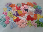 50 Assorted Baby Buttons 13-22 mm Round Hearts Flowers - Blue Pink Yellow etc