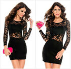 Sexy womens mini dress club wear party evening black floral lace size 8 10 12 UK