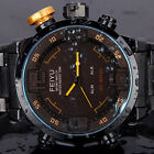 Mens Date Analog Army Dial Sport Stainless Steel Big LED Quartz Sports Watch M