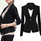 NEW Women Slim One Button Short Blazer Suit Jacket Coat Long Sleeve BLACK