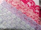 1 m x wide Flat Lace - choose Cerise/Magenta, pink, lilac, duck egg blue,