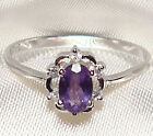 Genuine Faceted Oval Amethyst .925 Sterling Silver Ring -- AM877