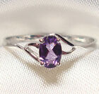 Genuine Faceted Oval Amethyst .925 Sterling Silver Ring -- AM868