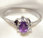 Genuine Faceted Oval Amethyst .925 Sterling Silver Ring -- AM889