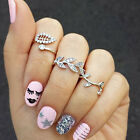 3pcs/Set Beautiful Stylish Crystal Rhinestone Leaf Midi Knuckle Rings Gift