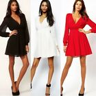 Women Cocktail Party Chiffon High Waist Long Sleeves Shirt Skater Mini Dress