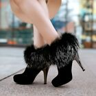 Luxury Suede Leather Womens Ladies Fur Trim Side Zipper High Heel Ankle Boots