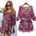 2014 New Womens 3/4 Sleeve Shivering Chiffon Dress Drape Skirt Plus Size US14-22