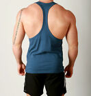 Mens T-BACK Aesthetic Gym Training Singlet Weights Stringer Tank Bodybuilding