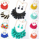 Womens Bib Statement Pendant Choker Candy Color Earrings Necklace Sets Jewelry