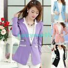 New Womens Blazer Jacket Suit Work Casual Basic Long Sleeve One Button 4 Colors