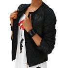 Black Wet Look Quilted Jacket 8-12 Hipster Short light weight New FREE RETURNS