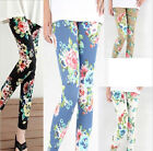 Women sexy Punk Funky Leggings Floral Print Stretchy Tights Pencil Skinny Pants