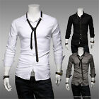 Fashion Mens Slim Fit Casual Long Sleeve Solid Color Dress Shirts Tops With Tie