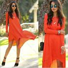 Sexy Women Fashion Chiffon Casual Loose Long Sleeve Party Cocktail Hem Dress Top