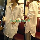 NEW Casual Women Button SHIRT Long Sleeve Loose Cotton Blouse Top White S - XXL