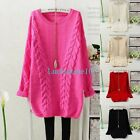 Retro Womens Crewneck Neck Long Sleeve Loose Knitwear Sweater Pullover Jumper