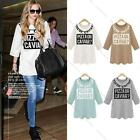 Fashion Women Casual T-Shirt Letter Print Crew Neck 3/4 Sleeve Tops Blouse Dress