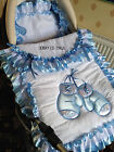 PINK, BLUE or WHITE Exquisite FULL SIZE BABY'S ROMANY BLING PRAM QUILT SET
