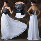 Chic Lace Girls Quinceanera Evening Prom Gown Black White Cocktail Long Dress GK