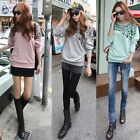 Korean Autumn Women Loose Leopard Print Batwing Long Sleeve T-Shirt Sweatshirt