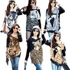 Women Loose Batwing Sleeve 3D Animal Print Blouse Shirt T-Shirt Tunic Dress Top