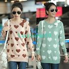 New Women Hearts Crewneck Long Sleeve Casual Loose Knitwear Blouse Sweater Tops