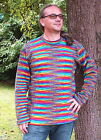 FAIR TRADE RAINBOW COTTON JUMPER HIPPY BOHO M L XL XXL
