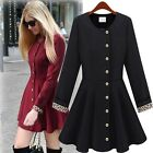 Hot Women's Double-breasted Windbreaker Pendulum Jacket Skirt Wind Coat US 6-12