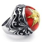 Men's 316L Stainless Steel Titanium Gold Star Red Enamelled Casted Ring M072340